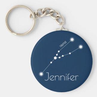 Personalized Taurus Zodiac Constellation Keychain