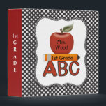 """Personalized Teacher ABC Binder<br><div class=""""desc"""">This personalized teacher album gives a place for the teacher&#39;s name and class information. You can also put the grade information on the side or put in your own wording like class planner and year.  The background is black and white pokadots with edging of mini pokadots.</div>"""