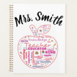 "Personalized Teacher Apple Word Art Planner<br><div class=""desc"">#teacher #teachergift  Show your favorite teacher appreciation</div>"