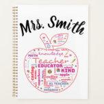 """Personalized Teacher Apple Word Art Planner<br><div class=""""desc"""">#teacher #teachergift  Show your favorite teacher appreciation</div>"""
