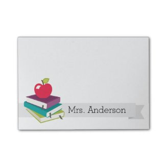 Personalized Teacher Books Apple Post-It Notes