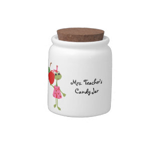 Personalized Teacher Candy Jar-Teacher with Apple Candy Jar