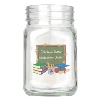 Personalized Teacher Chalkboard Stars Mason Jar