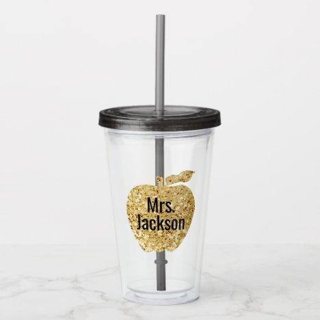 Personalized Teacher Gold Faux Glitter Apple Acrylic Tumbler