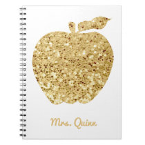 Personalized Teacher Gold Faux Sequin Apple Glam Notebook