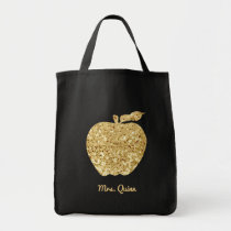 Personalized Teacher Gold Faux Sequin Apple Glam Tote Bag