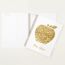 Personalized Teacher Gold Faux Sequin Apple Planner