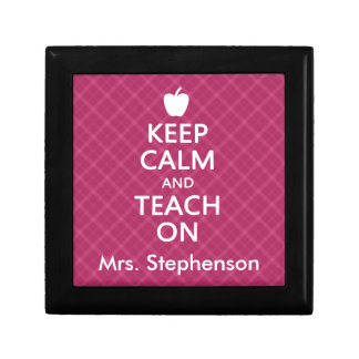 Personalized Teacher Keep Calm and Teach On Keepsake Box