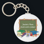 "Personalized Teacher Keychain<br><div class=""desc"">Great teachers make a difference in our lives and in our kids&#39; lives. Let a special teacher know how much you appreciate him or her with a personalized gift. With space to include your teacher&#39;s subject,  grade,  or teaching specialty,  this teacher design is sure to be a favorite!</div>"