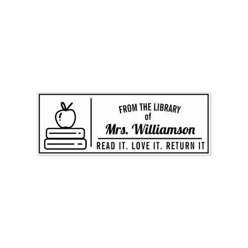 Personalized Teacher Library Colouring Self_inking Stamp