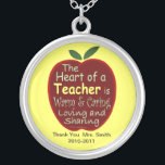 """Personalized Teacher Necklace<br><div class=""""desc"""">A nice gift for a dedicated professional. This could be a thank you gift or retirement or recognition of a special year or event. You may change the yellow background to another color - press &quot;customize it&quot; then go to edit background and change the color.</div>"""