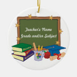 Personalized Teacher Double-Sided Ceramic Round Christmas Ornament