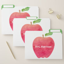 Personalized Teacher Red Apple Watercolor School File Folder