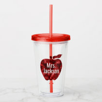 Personalized Teacher Red Faux Sequin Apple Acrylic Tumbler