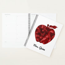 Personalized Teacher Red Faux Sequin Apple Planner