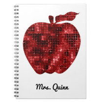 Personalized Teacher Red Faux Sequin Apple Planner Notebook