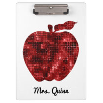 Personalized Teacher Red Sequin Apple School Clipboard