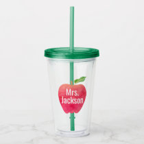 Personalized Teacher Red Watercolor Apple Acrylic Tumbler