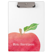 Personalized Teacher Red Watercolor Apple School Clipboard