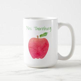 Personalized Teacher Red Watercolor Apple Teachers Coffee Mug
