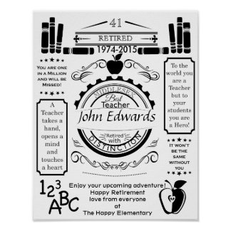 Personalized teacher Retirement Poster apple