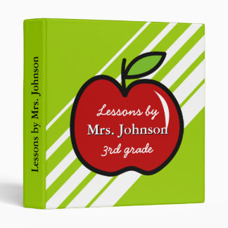 Personalized teacher school binder with red apple