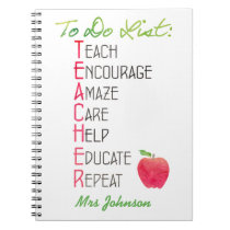 Personalized Teacher To do List Apple Typography Notebook