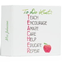 Personalized Teacher To Do List Lesson Plan 3 Ring Binder