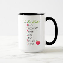 Personalized Teacher To Do List Watercolor Apple Mug