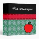 Personalized Teacher's Apple Binder