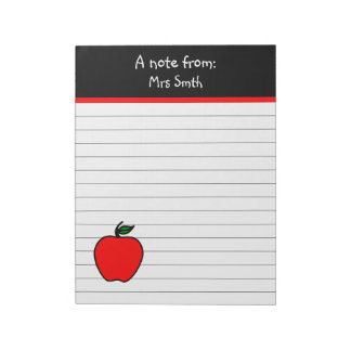 Personalized Teacher's Apple Notepad