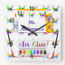 Personalized Teachers Art Class Clock