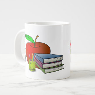 Personalized Teacher's Books & Apple Large Coffee Mug