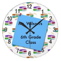 Personalized Teachers Books Blue Paper Clock