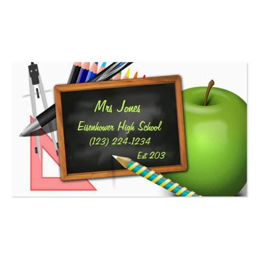 Personalized Teacher's Chalkboard Business Card Templates