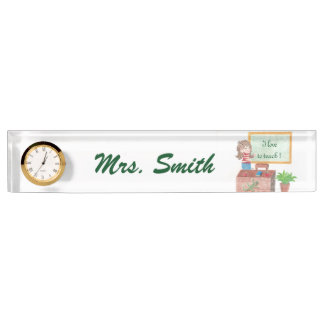 Personalized teacher's desk nameplate with a clock