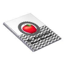 Personalized Teachers Gray Chevron Apple Notebook