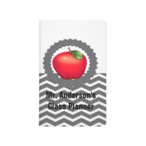 Personalized Teachers Gray Chevron Apple Planner Journal