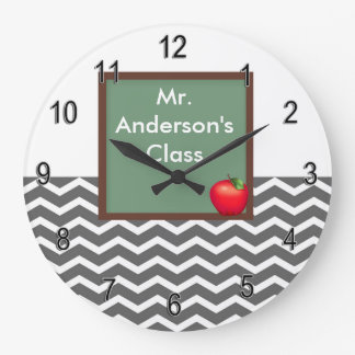 Personalized Teachers Gray Chevron Chalkboard Cloc Large Clock