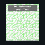 "Personalized Teachers Math Tools Notepad<br><div class=""desc"">Personalized Teachers Math Tools Note Pad (40 pages) features Math Tools pattern background that includes a grey compass, bright green protractors, bright green rulers and pink erasers. There is a retro black chalkboard that currently says Mr. Anderson&#39;s Math Class. Personalize with your name or any text you&#39;d like. Perfect gift...</div>"