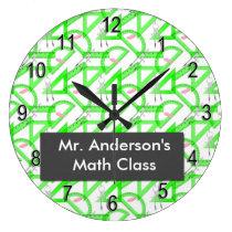 Personalized Teachers Math Tools Round Wall Clock