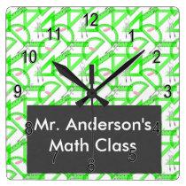 Personalized Teachers Math Tools Square Wall Clock