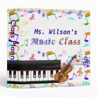 Personalized Teachers Music Class Binder/Planner Vinyl Binders