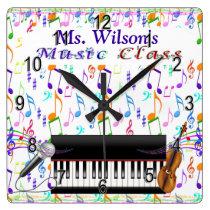 Personalized Teachers Music Class Clock