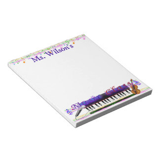 Personalized Teachers Music Class Notepad