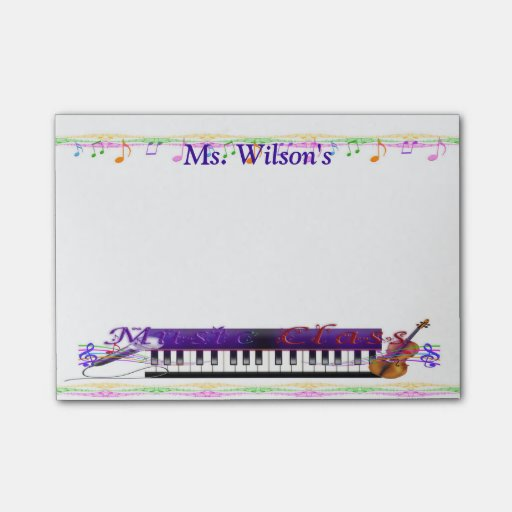 Personalized Teachers Music Class Post-it(r) Notes
