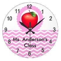 Personalized Teachers Pink Chevron Apple Clock