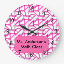 Personalized Teachers Pink Math Tools Clock