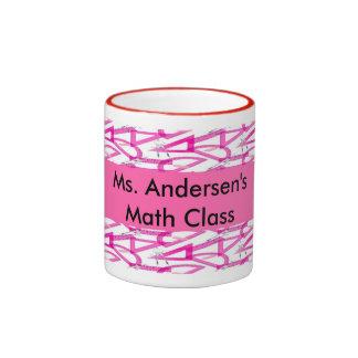 Personalized Teachers Pink Math Tools Mugs