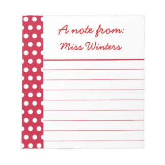 Personalized Teacher's Red Dots Notepad Gift